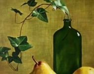 Green Bottle with Pears