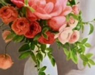 Roses and Peonias in White Vase